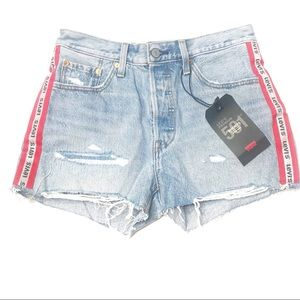 Levi's | 501 Logo Stripe Blue Denim Jean Shorts